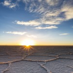 South America, Bolivia, Atacama, Altiplano, Salar de Uyuni at sunrise