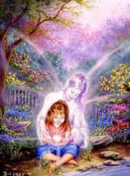 enfant avec ange en pleine lumière